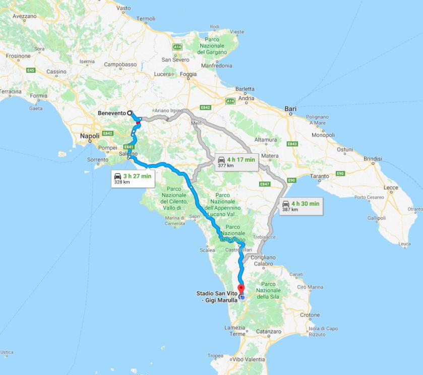 percorso in auto da Benevento allo stadio gigi marulla di cosenza